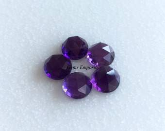 Amethyst 8 MM Rose Cut Round Cabochons. African Amethyst Faceted Cabs / February Birthstone / Price per piece.