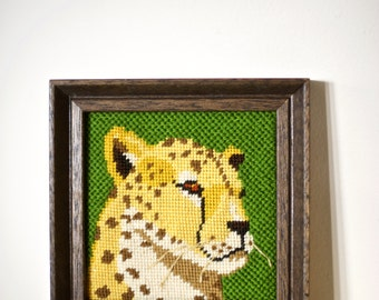 Vintage Cheetah Wall Hanging | Cheetah needle point