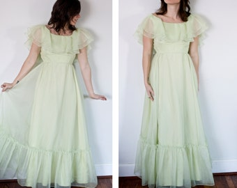 Vintage Pastel Green Dress | Bridesmaid Dress | Lorrie Deb ILGWU
