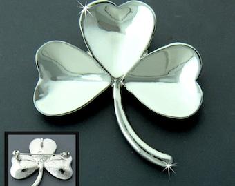 Irish Shamrock Pin/Pendant, Celtic pin, Irish Pin, Irish Silver Pin (#JPEW6062)