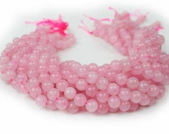 "Natural Rose Quartz Beads 4mm 6mm 8mm 10mm Polished Round 15.5"" Full Strand Wholesale Gemstones"