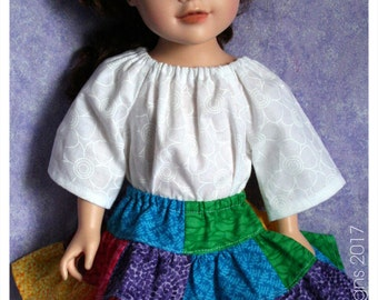 18 Inch Doll Clothing Playtime Peasant Top & Patchwork Rainbow Twirl Skirt