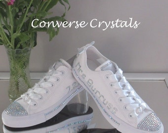 Personalised Bridal Mono White Custom Crystal *Bling* Converse - Name, Date and Side Crystals. Various Options Available.