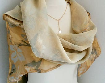 Vintage Jaeger London Chiffon Silk Scarf Square Designer Scarf Delicate Pastel color spring shawl floral light beige cream festive scarf