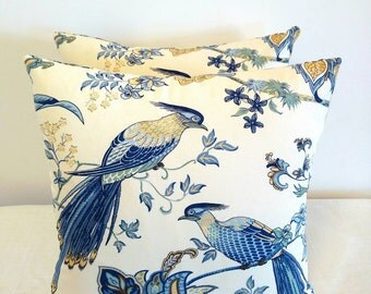 Blue bird pillow, tropical bird pillow cover, 18x18 blue bird pillow cover, Tropical blue bird pillow,  tropical bird decor, tropical decor