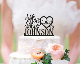 Personalized Mr and Mrs Wedding Cake Topper with YOUR Last Name and Date /ST008 - Mr and Mrs Wedding Cake Topper - Wood cake topper