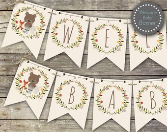 Woodland baby shower banner, welcome baby banner, woodland baby shower decor, baby shower decorations, printable banner