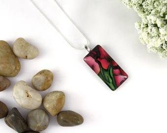 Gladiolus Necklace - Abstract Red Gladiolus Necklace - Burgundy Glass Pendant - Stained Glass Floral Jewelry - Art Nouveau Charm