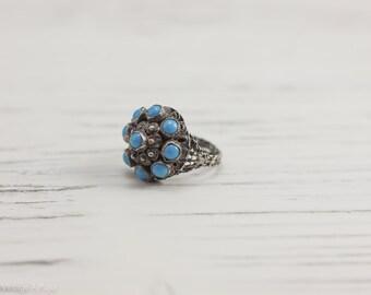 Vintage Austro Hungarian Bohemian Turquoise Filigree Ring