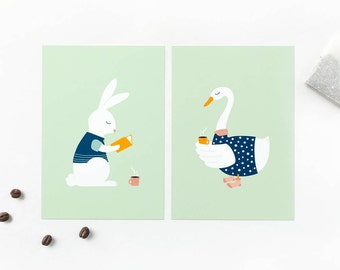 2 cards set bunny and goose, coffee lover tea, book wurm, animal cards, relax postcards pack, get well greeting card, snail mail notecards