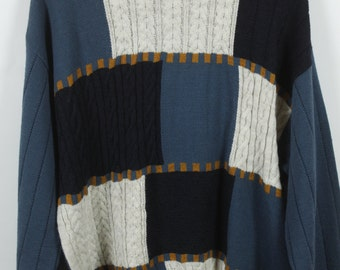 Vintage Sweater, Vintage Knit Pullover, Pattern, 80s, 90s, blue and beige, squares, oversized look