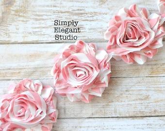 "Light Pink and White Stripe Chiffon Shabby Chic Flower, 2.5"" Chiffon Flowers, Headband Flowers, Flower by the Yard"