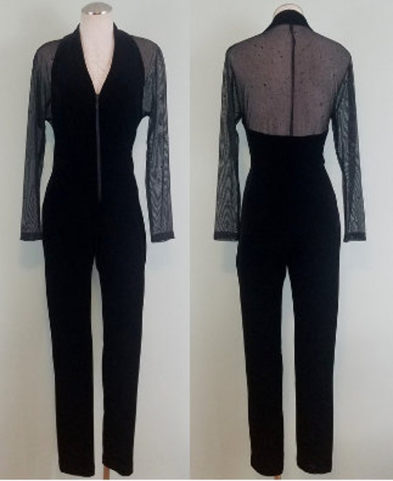 1990s Vintage Velvet Jumpsuit / Sheer Mesh, Splatter Painted Sleeves / Bodycon Black Catsuit / Modern Size Large to Extra Large