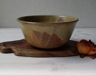 Ceramic Bowl,  Modern Salad Bowl, Mixing Bowl, Ceramic Serving Bowl, Fruit Bowl, Green And Brown Ceramic Bowl,Housewarming Gift,Wedding Gift