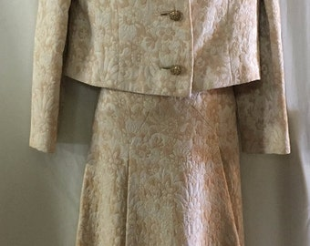 Two-Piece Women's Suit by Lillie Rubin with Mink Trim Collar, Bolero Brocade Jacket and Skirt Suit, Beautiful Rhinestone Buttons.