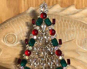 Vintage Husar Czech Rhinestone Tree, Crystal Swinging Garland, Red and Green Christmas Tree, Tabletop tree, Christmas Decoration, Ornament