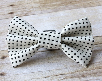 Black and White Polka Dot Dog Bow Tie