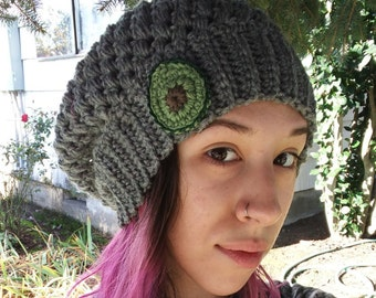 Crochet slouchy avocado beanie / slouchy beanie / avocado hat / avocado beanie / winter hat / slouchy crochet beanie / vegan hat