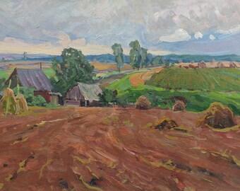 Sale 35% VINTAGE IMPRESSIONIST ART Original Oil Painting by Soviet Ukrainain artist A.Fomin 1980, Rural Field Landscape, Haystack, Old house