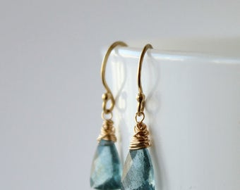 Aquamarine Dangle Earrings, Moss Aquamarine gold filled earrings, March birthstone, gift for her, blue gemstone jewellery
