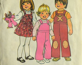 Uncut 1970s Simplicity Vintage Sewing Pattern 7060, Size 1; Toddlers' Overalls, Jumper, and Doll
