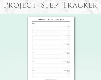 Printable Project Step Tracker Pages, Minimalist design | A4 & US Letter | Project Step Tracker, 3 months, 4 weeks and 1 week Planners