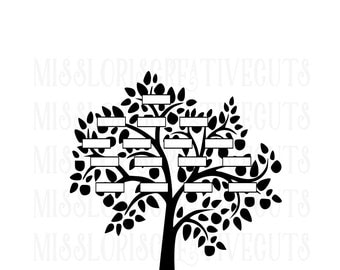 Family Tree Custom SVG Cut file  Cricut explore file
