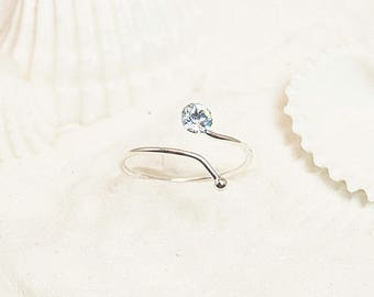 Silver Toe Ring, Silver CZ Toe Ring, Sterling Toe Ring, Small Toe Ring, Adjustable Toe Ring, Silver Pinkie Ring, Toe Rings