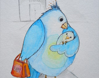 """Original Watercolor of Birdy Mom with Newborn, """"New Baby"""", Whimsical Watercolor Painting of Mother Bird with Chick, New Arrival,"""