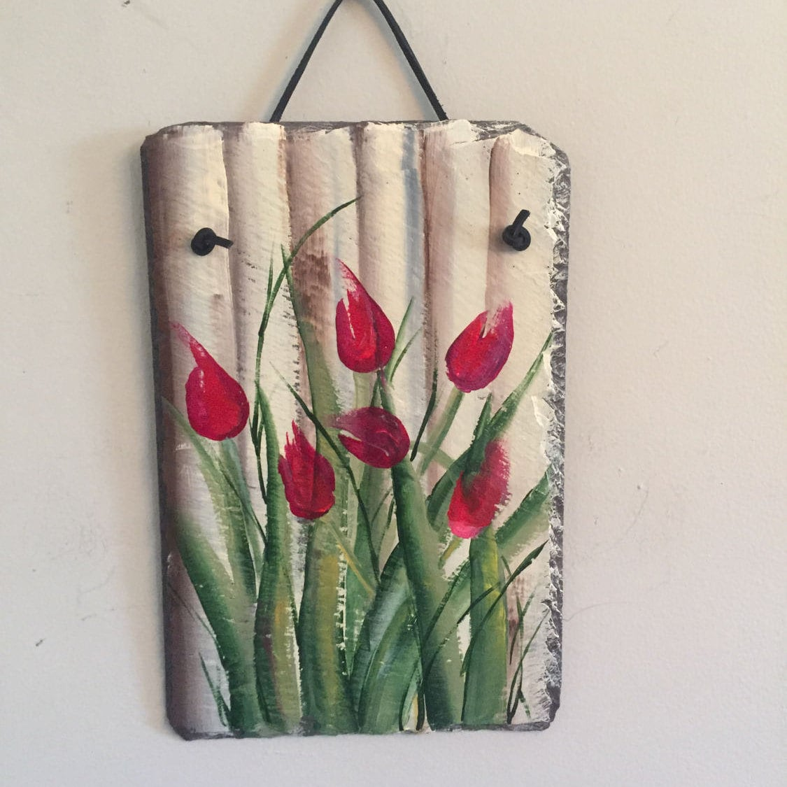 garden slates, tulips slate painting wall hanging, 12 x 8 painted