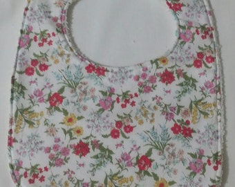 100% Cotton Baby Bib - White with Pink Floral Print