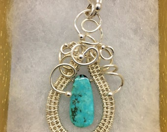 Turquoise Woven Pendant