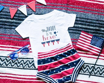 My Daddy is My Hero, Daddy T-shirt, Patriotic T-shirt, Patriotic Onesie, Soldier Daddy, 4th of July Outfit, Fourth of July Baby, Baby 4th