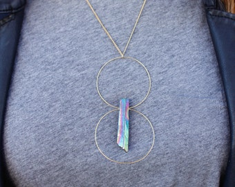 Double Hoop Crystal Necklace