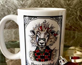 Christmas Mug, Sheep Mug, Feliz Navidad, Holiday mug, Cute animal mug, Christmas gift, Funny mug, Mug with saying, Knit, Custom Mug, Unique