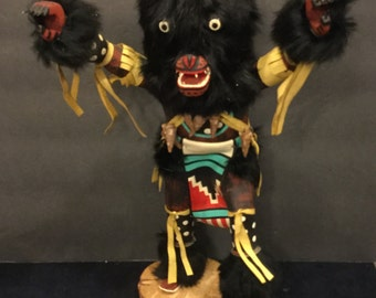 "Vintage 16"" Hopi Katsina / Kachina wooden black bear doll signed"