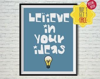 Believe sign, Kids poster, Art for boys room, Kids wall art, Printable art, Kids art work,Nursery prints,Playroom decor,kids room wall decor