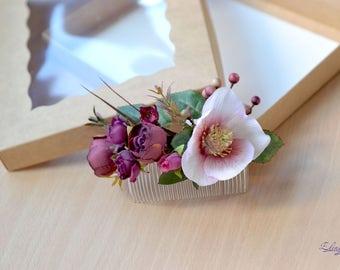 Burgundy floral bridal comb Boho hair comb Silk flower back hair piece Wedding flower comb Fairy hair burgundy wedding woodland comb