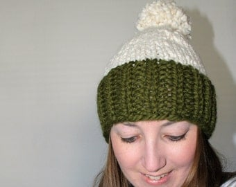 Knit Pom Pom Hat, Chunky Knit Hat, Green Knit Hat - Eldridge Hat Cilantro Fisherman