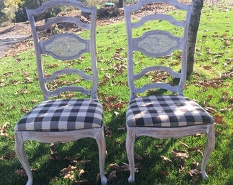 French Provincial Vintage Farmhouse Dining Chairs Weathered Finish Farmhouse Decor Fabric Upholstery is customizable