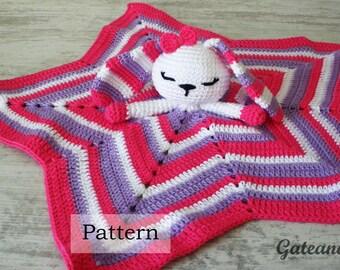Crochet pattern. security blanket. amigurumy bunny. Dou-dou