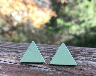 Light Green Triangle Wood nickel-free earrings - 17mm