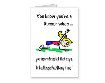 Funny Running Card, Pause My Time Card, Cartoon Running Card, Fun Card For Runner, Runners Encouragement Card, Greeting Card For Runners