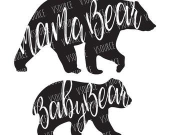 Svg - Mama Bear SVG - Momma Bear SVG - Momma SVG - Mothers Day Svg - Baby Bear Svg - Mommy Bear - Mommy and Me Cut Files