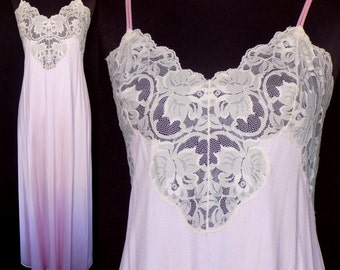 Vintage Nightgown, 1980s Pink and Ivory Lace Nightgown by Sabrina, Size Medium 36
