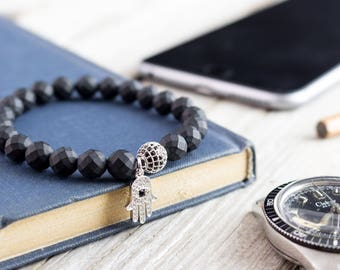 8mm - Matte black faceted onyx beaded stretchy bracelet with silver micro pave Hamsa hand charm & ball, made to order bracelet