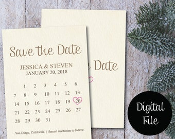Save the Date Calendar Template/Save the Date Postcard