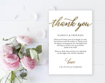 Wedding Thank You Card, Gold Thank You Printable, Gold Wedding Calligraphy, Wedding Table Thank You, Agenda | 4x6"
