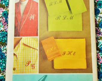 Retro Simplicity Sewing Pattern - 1971  - Embroidery transfers for Script alphabet - Mpn 9738 - Unused & factory folded