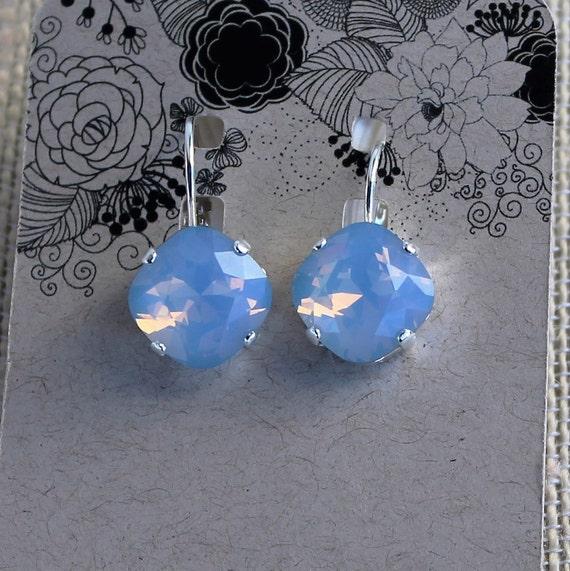 12mm Cushion Cut Swarovski Crystal Earrings in Air Blue Opal